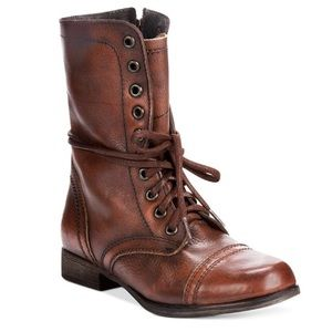 Steve Madden Brown Leather Troopa Boots